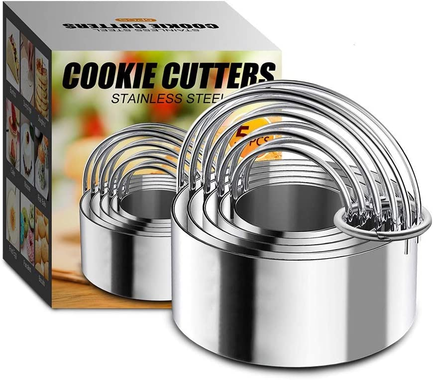 5 Pieces Biscuit Cutter with Handle - Stainless Steel Round Circle Donut Cutter Baking Molds Assorted Size