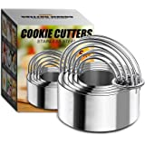 5 Pieces Biscuit Cutter with Handle - Stainless Steel Round Circle Pastry Cutter Baking Molds Assorted Size