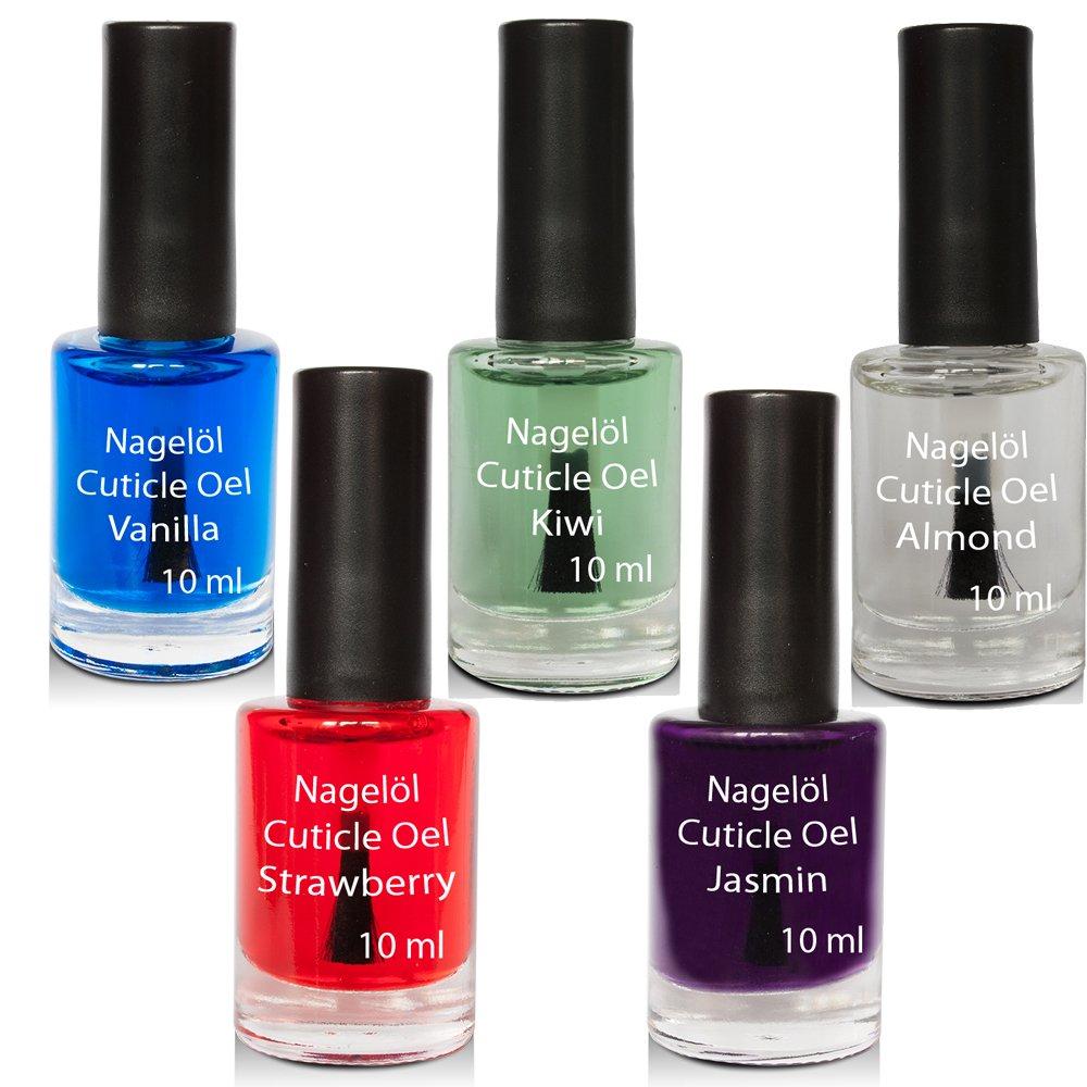 Aceite para uñas en una botella de pincel Set N°3, Vanille, Kiwi, Almond, Strawberry, Jasmin 5x10ml Kosmetik Excellent 3398