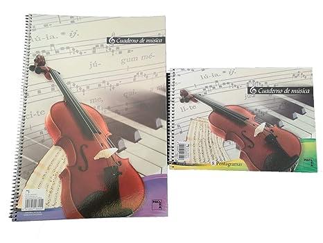 Cuaderno Pentagrama A4 Y A5 Grande para Música Espiral Piano Conservatorio Escuela Colegio Lenguaje musical Solfeo