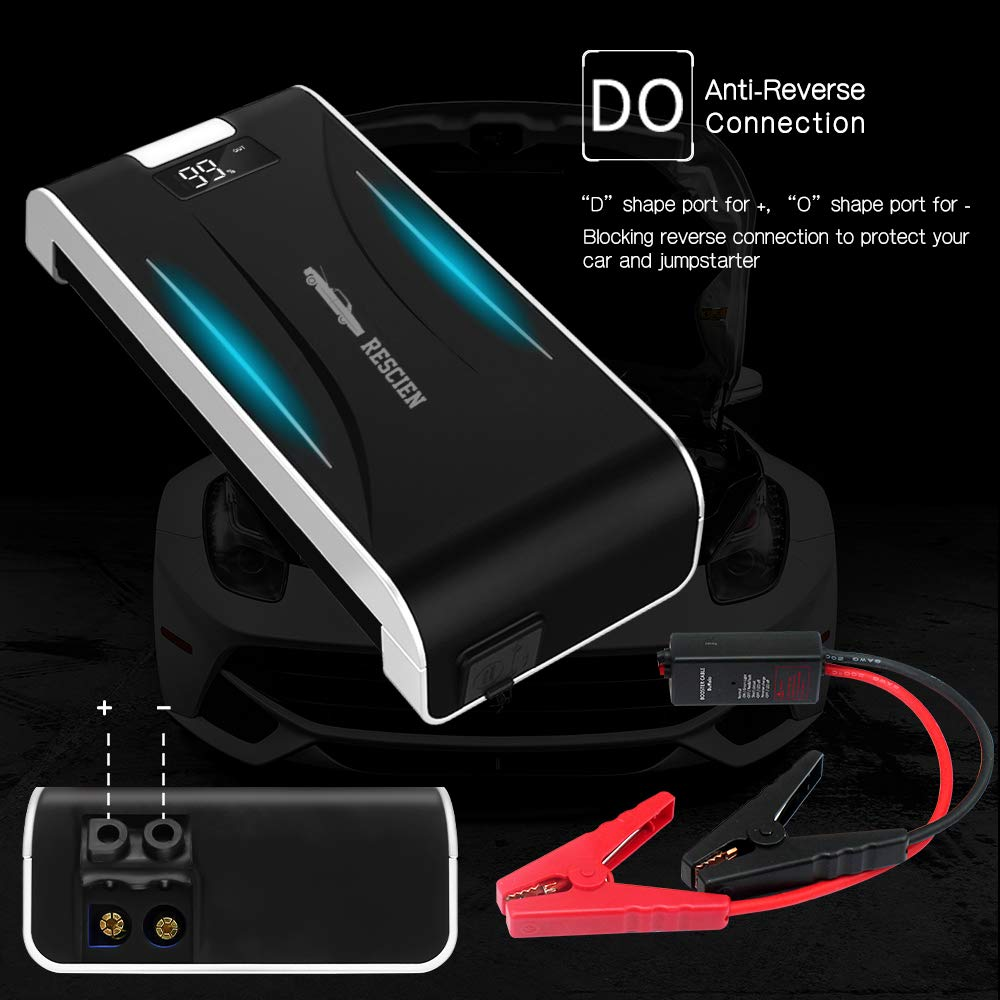 Up to 4.0L Gas, 2.0L Diesel Engines RESCINE Car Jump Starter 600A Peak Auto Battery Booster 12000mAh Emergency Robust Power Pack Portable External Battery Charger