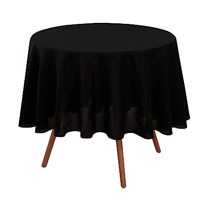 Deconovo Mantel para Mesa Redondo de Cocina 180 cm Negro