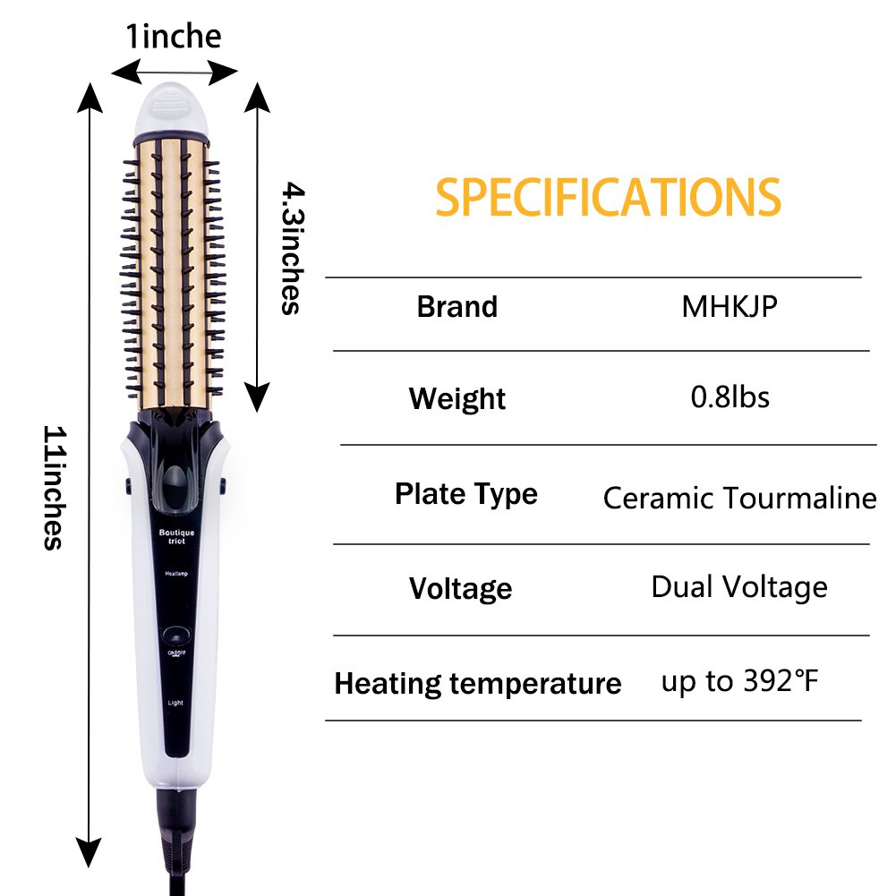 Travel Ceramic Curling Iron Dual Voltage , 3 In 1 Tourmaline Hair Straightener/Crimper /Curler With Faster Heating By MHKJP