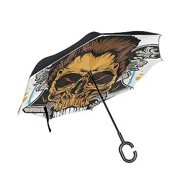 MALPLENA Cabeza de Esqueleto con Pelo Auto Abierto Paraguas Arriba Abajo Reverso inverso Inverso Paraguas para