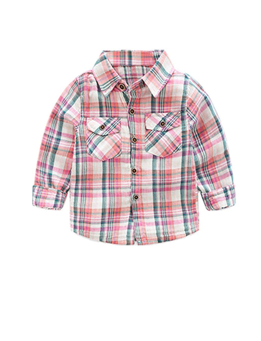 Five Colors DDSOL Kids Long Sleeve Boys Girls Plaid Cotton Shirt 2-7Years