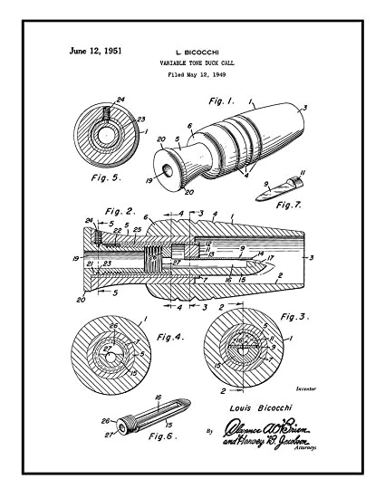 Amazon Com Duck Call Patent Print Black Ink On White With Border