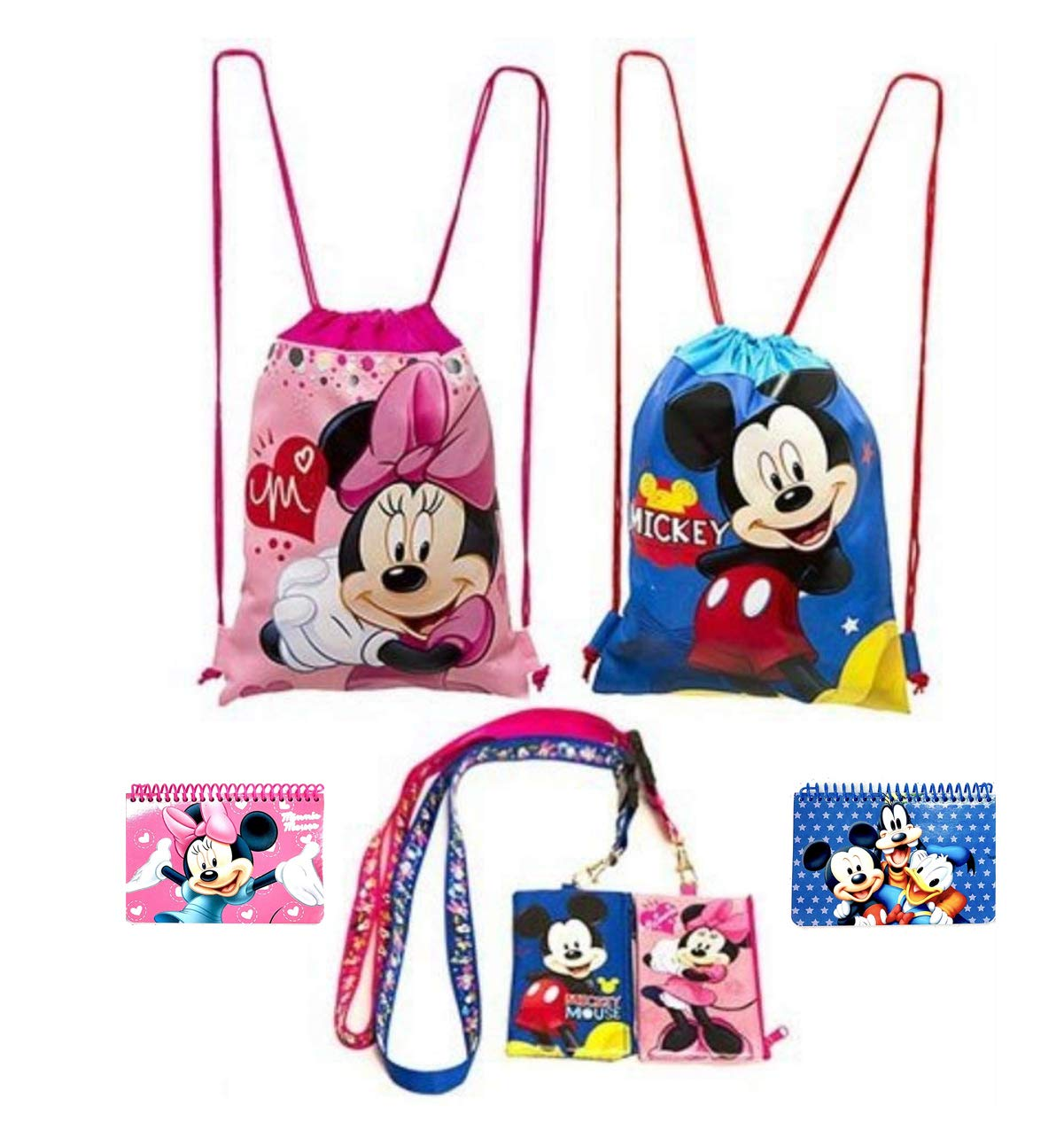 Disney Mickey and Minnie Mouse Drawstring Backpacks Plus Lanyards with Detachable Coin Purse and Autograph Books (Set of 6) (Pink - Dark Blue)