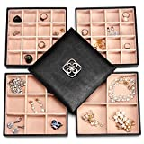 SWEETV Synthetic Jewelry Storage Box - 4 Layer Trays Earrings Rings Necklaces Bracelet Organizer Case with Large Mirror