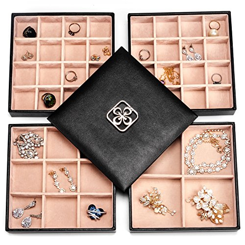 SWEETV 4 Layer Jewelry Organizer Tray - 45 Slot Earring Ring Necklace Holder Storage Box Case for Drawer Dresser, Large Mirror ()