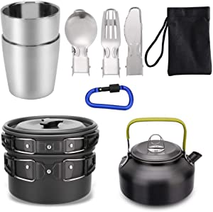 Mokoala Camping Cookware Kettle Pot Pan Mess Kit, 10Pcs Lightweight Backpacking Gear with 2 Stainless Steel Cups for Outdoor Camping Backpacking Hiking Picnic