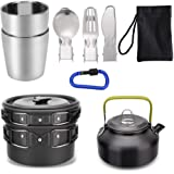 Mokoala 10/15 Pcs Camping Cookware Mess Kit with Kettle, Aluminum Lightweight Folding Camping Pot and Pan Set for Outdoor Camping Backpacking Hiking Picnic