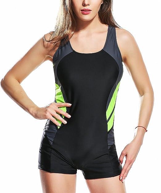 Amazon.com: Uhnice Boyleg traje de baño de una pieza para ...