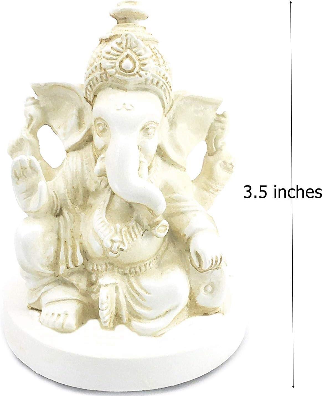 Bellaa 23743 Ganesh Statues Hindu Good Luck God White 6 inch