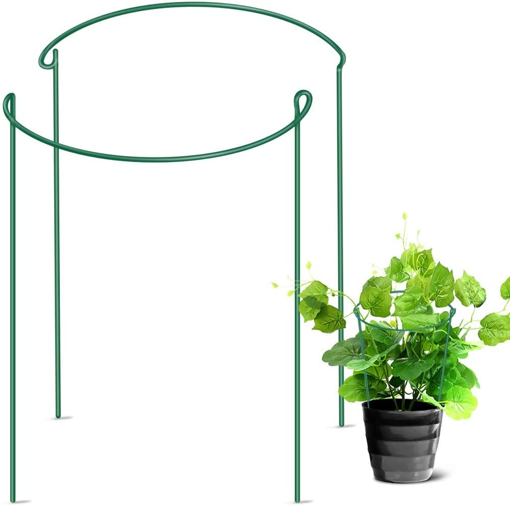 "LEOBRO Garden Support Stake, 2-Pack Half Round Metal Garden Plant Supports, Garden Plant Support Ring, Border Support, Plant Support Ring Cage for Rose Hydrangea Vine (9.4"" Wide x 15.6"" High)"