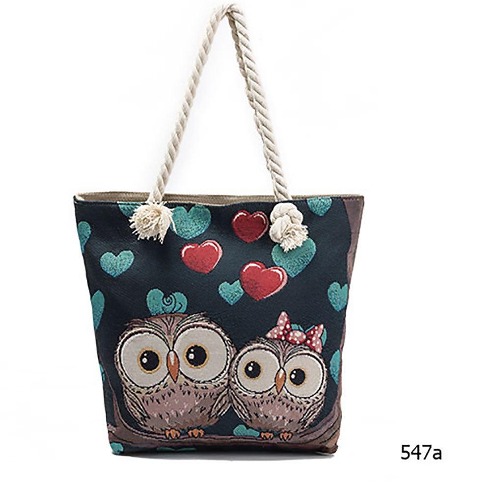 5fa42416d4f2 Prime Sale Day Deals Owl Jacquard Canvas Handbag Lady Bag Retro ...