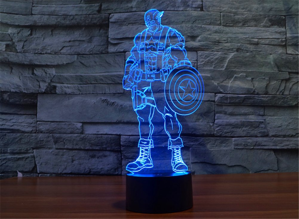 SmartEra® 3D Optical Illusion 2016 New Captain America Panel Model Lighting Night 7 Color Change USB Touch button LED Desk Table Light Lamp by SmartEra® (Image #6)