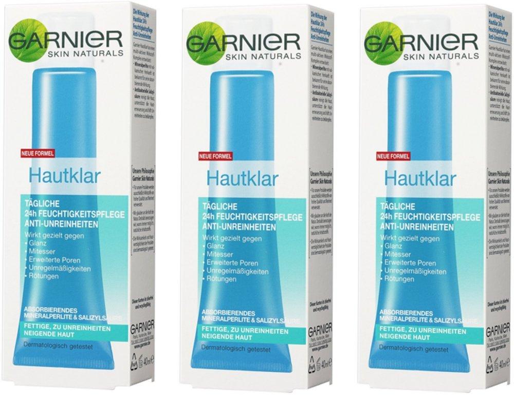 Garnier Pelle Chiara 24h Idratante Viso Anti Impurità/Crema Viso per pelle grassa + pelle con tendenza impurità, confezione da 3 – 3 X 40 ML confezione da 3 - 3 X 40 ML C01395