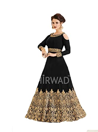 379852cb1a Amazon.com: Georgette Fabric Heavy Embroidered Designer Floor Length  Anarkali Salwar Suit with Nazmeen Dupatta: Clothing