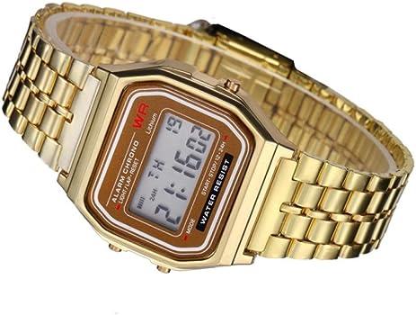 Reloj de Pulsera de cronómetro con Alarma Digital de Acero ...