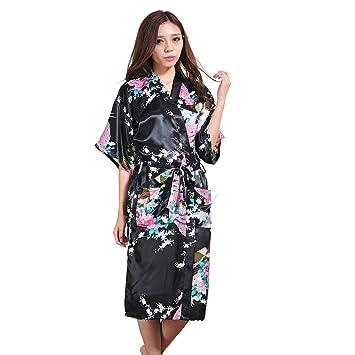 YANXH Albornoz Kimono De Las Mujeres Retro Largo Pavo Real Flores Impresas Batas de Dormir para Damas De Honor Boda Pijama Diario: Amazon.es: Deportes y ...