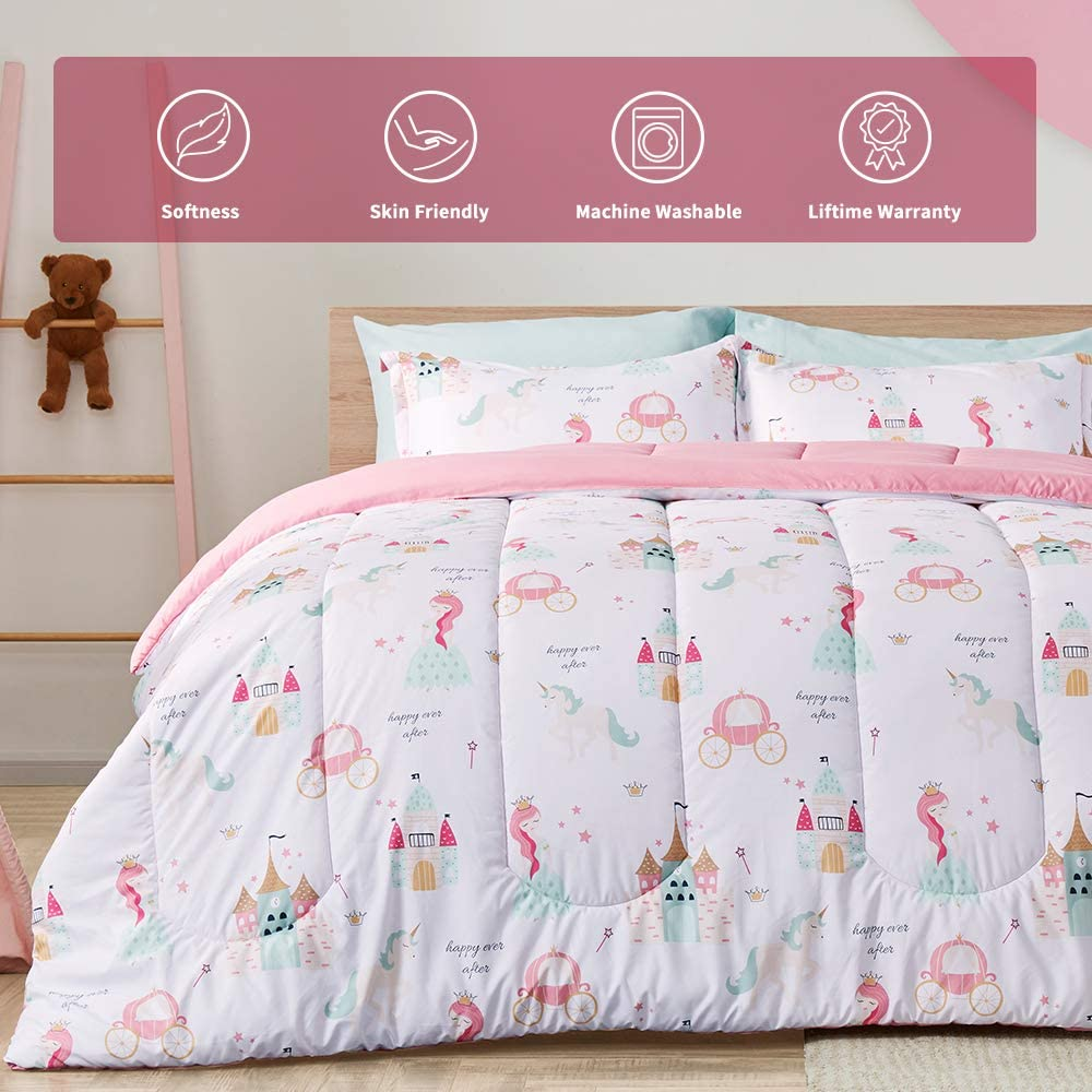 Lovely Unicorn Girls Duvet Cover Set //Full Colorful Golden Cute Unicorn Angle Ears Bedding Sets Cartoon Unicorn Kids Comforter Cover 3 Pieces