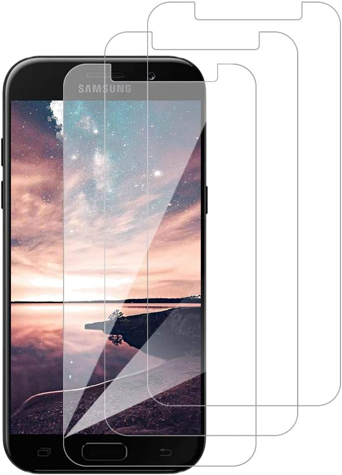 [3 Pack] Amonke Protector Pantalla para Samsung Galaxy A5 2018 Cristal Vidrio Templado, Plana pero Incompleta Cobertura, 9H Dureza 2.5D curvo Borde Screen Protector para Samsung Galaxy A5 2018
