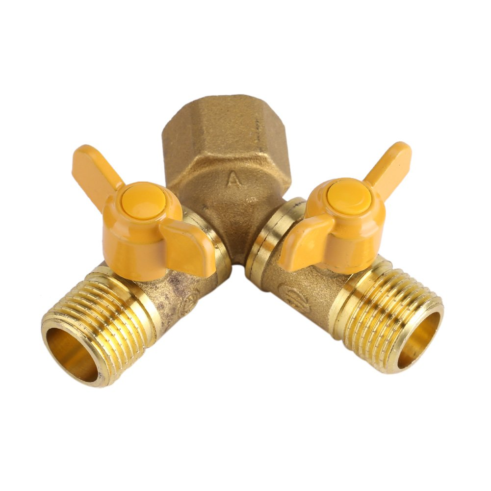 G1/2 Brass Garden Irrigation 2 Way Double Tap Hose Adapter Dual Faucet Connector (1 Pack)
