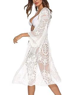 1edb122157 Women's Lace Cardigan Floral Crochet Sheer Beach Cover Ups Long Open Kimono