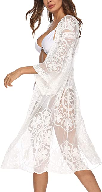 Womens 3 4 Sleeve Floral Crocheted Chiffon Mesh Cover Up White Lace Kimono Cardigan Duster At Amazon Women S Clothing Store