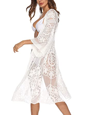 6d30f56840 Womens 3/4 Sleeve Floral Crocheted Chiffon Mesh Cover Up White Lace Kimono  Cardigan Duster