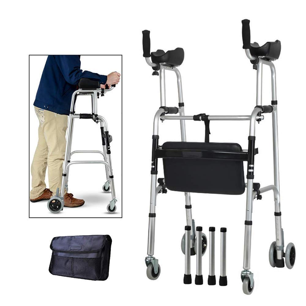 Wheel Walking Frame with Armrest Support Pad Thick Aluminum Alloy Rehabilitation Auxiliary Walking Frame Elderly Walking Aid Height Adjustable (with Seat) by HEA GH