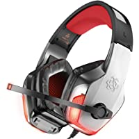 BENGOO X-40 Gaming Headset Xbox One, PS4, PC, Controller, Noise Cancelling Over Ear Headphones Mic, LED Light Bass Surround Soft Memory Earmuffs Computer Laptop Mac Nintendo Switch -Red