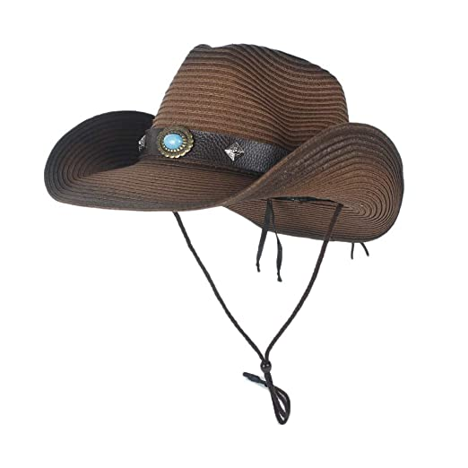 XIEWEICHAO Western Cowboy Strew Sombreros de Verano de Paja ...