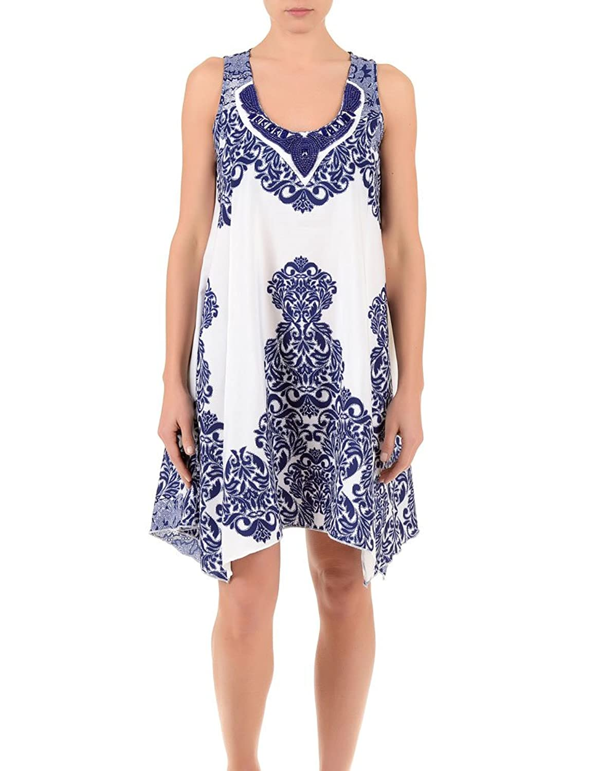 Iconique IC7-089 Women's White and Blue Floral Beach Dress