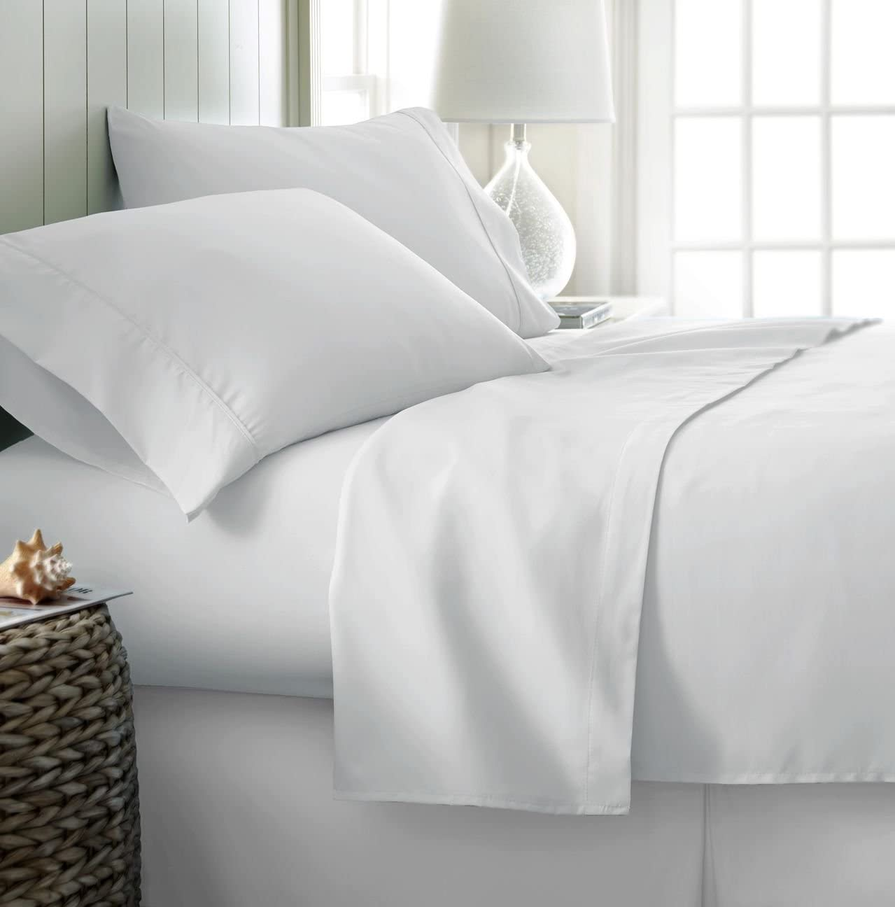 Simply Soft Ultra Soft 4 Piece Bed Sheet Set, King, White