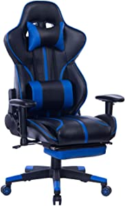 Blue Whale Gaming Chair PC Computer Game Chair with Footrest Racing Gamer Chair Ergonomic Office Chair High-Back PU Leather Computer Desk Chair with Lumbar Cushion and Headrest (GM039Blue-2)