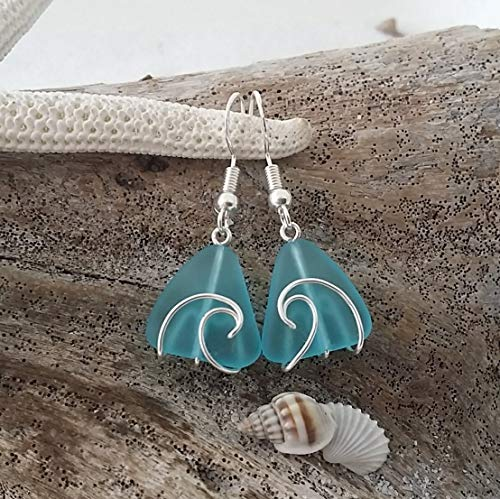 Hawaii,wire wrapped wave blue sea glass earrings, sterling silver hook,gift box, gift of love, sea glass jewelry, ()
