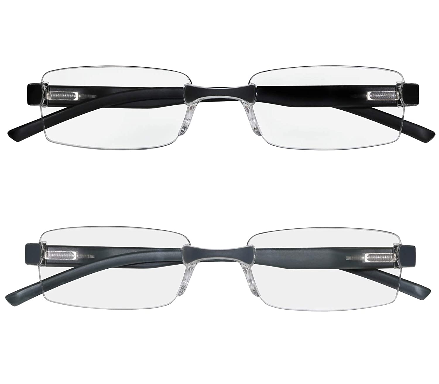 b18eea187a Amazon.com  Reading Glasses Set of 2 Rimless Ultra Lightweight Comfort  Glasses for Reading for Men and Women +1  Clothing