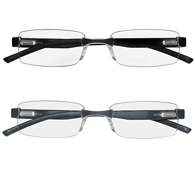 8b7f15d2c75 Reading Glasses Set of 2 Rimless Ultra Lightweight Comfort Glasses for  Reading for Men and Women