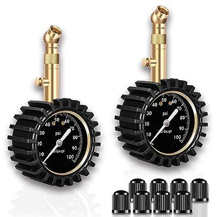 EEIEER mecánica Neumáticos - Tensiómetro, Portable Tire Pressure Gauge 0 - 100 PSI con Esfera analógica, Incluye 4 Tapas de válvula para Cada: Amazon.es: ...