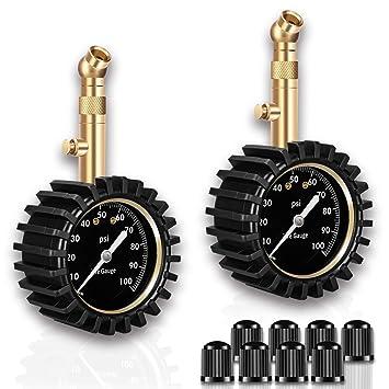 EEIEER mecánica Neumáticos - Tensiómetro, Portable Tire Pressure Gauge 0 - 100 PSI con Esfera analógica, Incluye 4 Tapas de válvula para Cada: Amazon. es: ...
