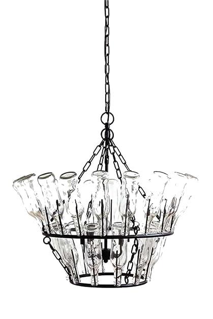 Clear glass bottle chandelier wine rack french vintage style clear glass bottle chandelier wine rack french vintage style aloadofball Images