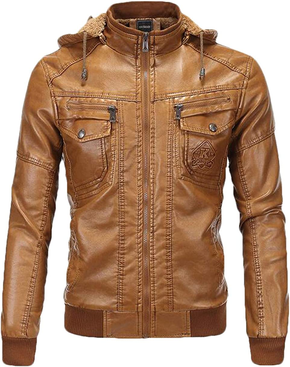 XTX Mens Winter Warm Fleece Lined Stand Collar Hooded Moto Faux Leather Jackets Yellow 3XL