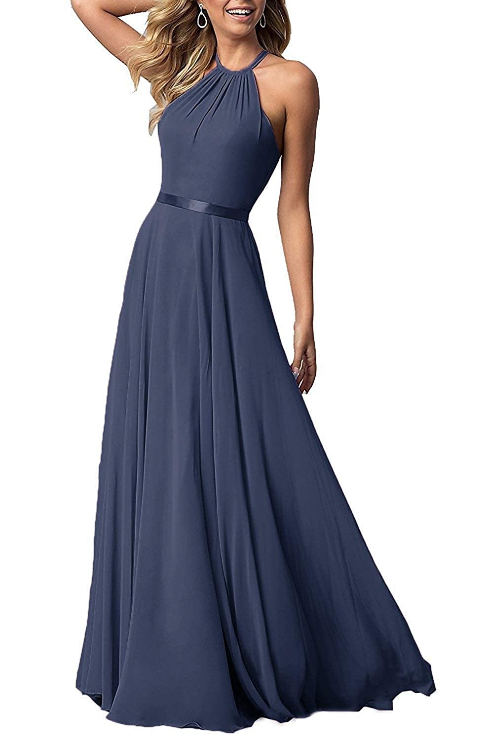 Darkslatebluee ROMOO Sexy Halter Long Bridesmaid Dresses Open Back Aline Formal Evening Party Gowns