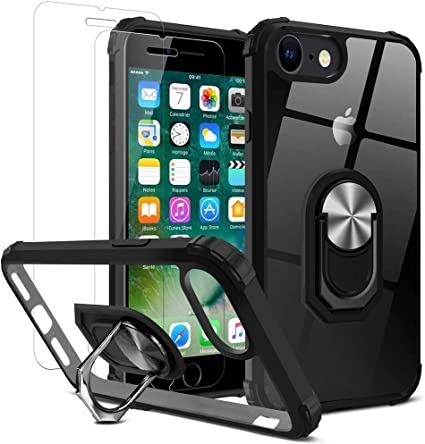 DOSMUNG Carcasa para iPhone 7/iPhone 8 Funda + 2 Pack Protectores Pantalla Cristal Templado HD, Funda con 360 Grados Anillo iman Soporte y Silicona TPU +PC: Amazon.es: Electrónica