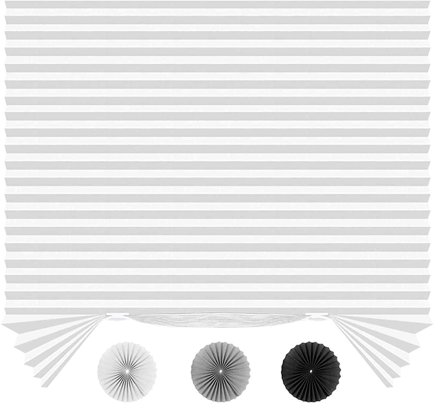 "SEEYE Light Filtering Temporary Blinds Cordless Shades Fabric Pleated Fabric Shade Easy to Cut and Install, 36"" W x 72"" L - 6 Pack, White,with 12 Clips"