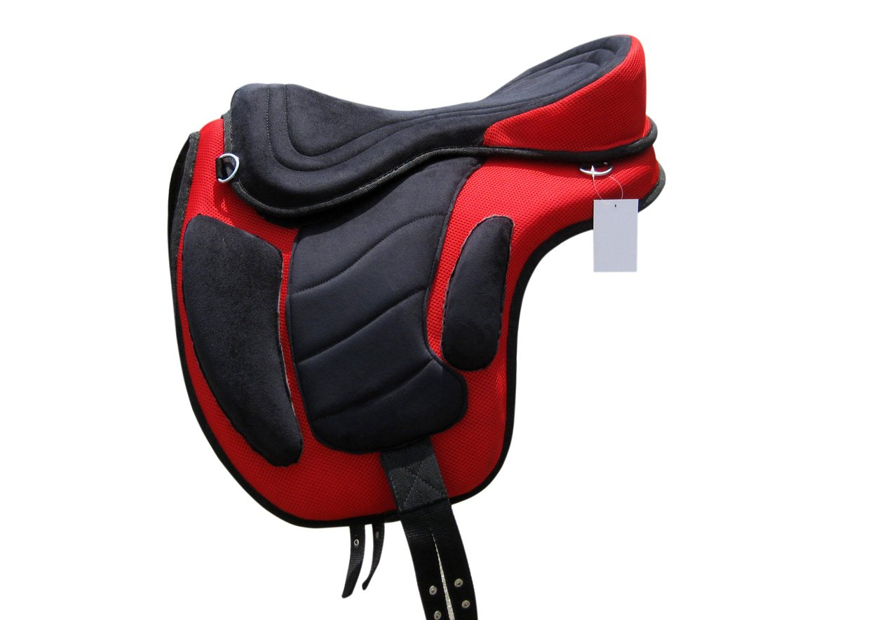 HORSE TREELESS SADDLE, 16 WIDE, SEAT WITH MATCHING GIRTH (SQUARE PATTERN) 16 WIDE TINTPETS
