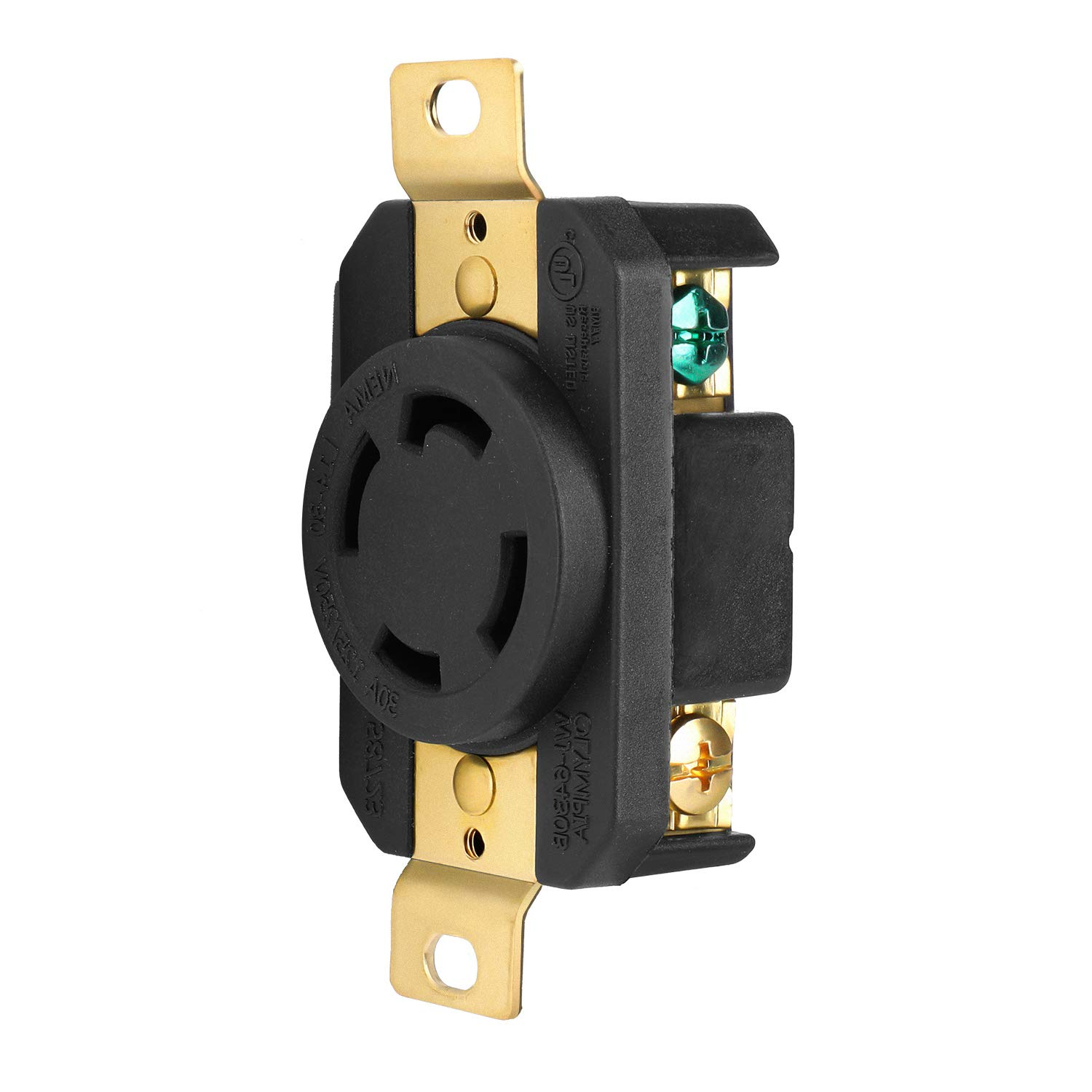 TNP L14-30R Twist Lock Receptacle 125/250V 30A UL Listed Flush Mounting Connector Socket, Industrial Grade V-0 Flammability 3 Pole 4 Wire Grounding