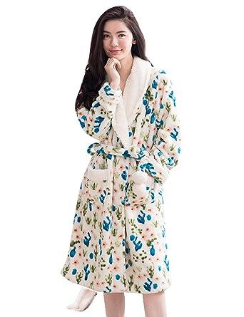 836e11483c33 Nueking Flowers Long Winter Warm Fleece Flannel Women Pajama Bathrobe Robe  Blue Small