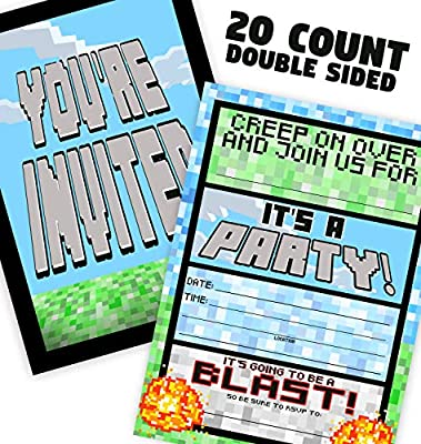 POP parties Pixel Party Invitations - 20 Invitations + 20 Envelopes - Double Sided - Video Game Invitations - Game Truck Party Supplies - Brights 20ct